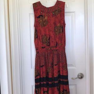 Rust/Brown/Black Tiered Ruffled Maxi Dress